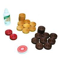 Carrom Board 24x Coin Set with Acrylic Striker & Bottle of Powder - Garden Games