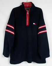 Vtg TOMMY HILFIGER Womens 1/2 Zip Mock Blue Fleece Ski Sweatshirt Jacket Plus 2X