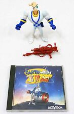 1995 Activision Earthworm Jim Windows 95 PC Video Game Disk + Action Figure