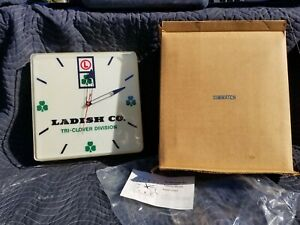 1981 Advertising Ladish Co. Tri-Clover Division Lighted Clock, NOS  Dairy