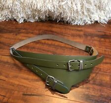 Green Silver BoHo Hippie Steampunk CHIC Wide Faux LEATHER Layering Hip Belt M/L