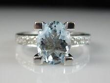 14K Aquamarine Diamond Ring White Gold Fine Jewelry Oval Aqua Blue Bridge Size 7