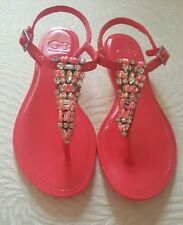 SZ 8 GIANNI BINI Fan-Club Pink Sandals Rhinestones T-Strap