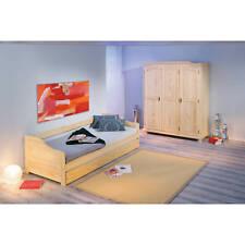 Armoire penderie dressing rangement chambre vintage 3 portes bois massif NATUREL