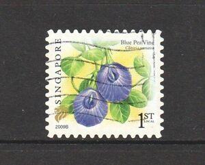 SINGAPORE 2009 FLOWER BLUE PEA VINE 1ST LOCAL 1ST REPRINT (2009B) 1 STAMP USED
