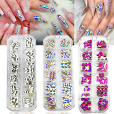 Nail Art Rhinestones Mix Flatback Gems Glitter Crystals 3D Tips Decoration Case