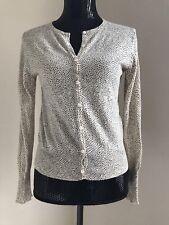 Furla Cashmere Button Down Sweater Knit Cardigan Black Dots Ivory Size S