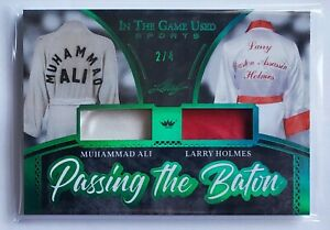 2020 Leaf In The Game MUHAMMAD ALI/LARRY HOLMES Dual Match Worn Relic Magenta /4
