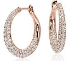 Pave 1.80 Cts Natural Diamonds Hoop Earrings In Fine Certified 18Karat Rose Gold
