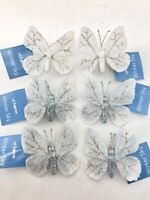 6 Butterfly Christmas Tree Ornaments Holiday Wreath Decorations Xmas Bling Decor