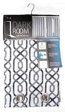 "Dark Room 2 Blackout Grommet Panels 76""x84"" Grey Print Design Energy Saving"