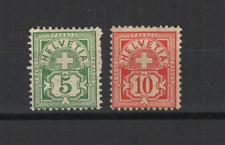 SUISSE Helvetia 1882-99 2 timbres neufs sans gomme & avec charnière  /T3437