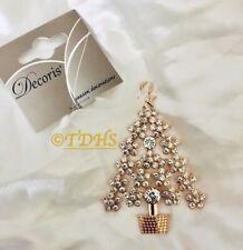 Diamante Xmas Tree Decoration Hanging Bauble Antique Christmas Gold Rose