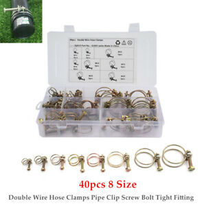 40pcs 8 Size 12-35MM Wire Hose Clamps Pipe Clip Screw Bolt Tight Fitting Kit