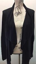 Banana Republic Women Open Cardigan Black XL Long Sleeve Cotton Blend Raffle