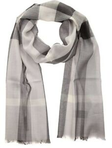 AUTHENTIC BURBERRY GAUZE CHECK PALE GREY SCARF 3931323