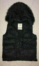 Abercrombie & Fitch A&F lightweight faux fur vest puffer hoodie jacket women M