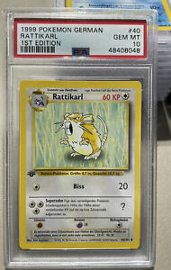 Rattikral 1st Edition Raticate Base Set German Gem Mint 10 PSA Pokemon #40
