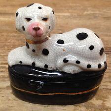 Covered Trinket Box Staffordshire Dalmatian Dalmation Puppy DOG CRACKED