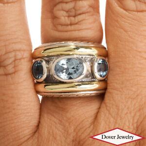 David Yurman Blue Topaz 14K Gold Sterling Silver Wide BandRing 15.7 Gr NR