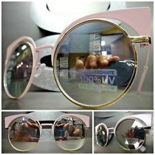 EXAGGERATED VINTAGE RETRO CAT EYE Style SUN GLASSES Pink & Gold Frame Pink Lens
