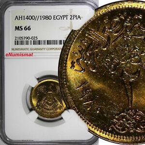 Egypt Aluminum-Bronze AH1400//1980 2 Piastres NGC MS66 TOP GRADED KM# 500 (025)