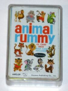 Vintage 1960s Whitman ANIMAL RUMMY Card Game 4493! COMPLETE in Original Case!