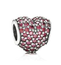 AUTHENTIC PANDORA PAVE LOVE ALL AROUND Red CZ Heart Charm  #591052CZR New w Tags