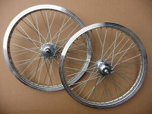 """20 """" BMX WHEELS  - 3/8 """" Axle - 48H -  Front & Rear  - new mid old school Silver"""