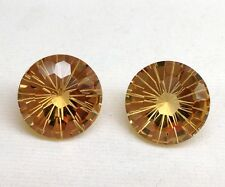 Sparkling Fancy Cut Natural Lt. Yellow Golden Citrine Round 14 mm Charming Pair