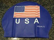 New AQUALIS USA American Flag Navy Latex Swim Cap - Swimming