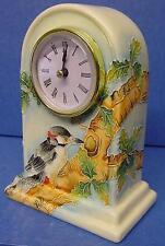 OLD TUPTON WARE TUBELINED PORCELAIN WOODPECKER & OAK TREE MANTEL CLOCK 7956