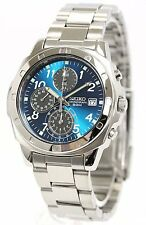 New! SEIKO SND193P Stainless Steel Blue Chronograph Men's Watch from Japan!