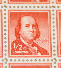 1958 sheet, ½ cent Benjamin Franklin Dry Printing Sc#1030a