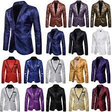 Mens Shining Tuxedo Suit Party Formal Coat Blazer Gentleman One Button Jacket