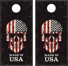 Make In USA Flag Skull Cornhole Wraps LAMINATED Decal Set Decals Vinyl Sticker