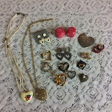 Lot of 16 Valentine Love Heart Jewelry Lot some signed wearable