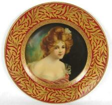 pretty lady litho tin Dresden antique advertising furniture art plate Morse