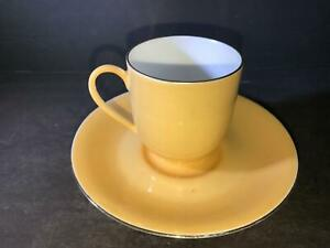 K) LIMOGES FRANCE DEMITASSE CUP SAUCER SOLID ORANGE YELLOW WITH GOLD