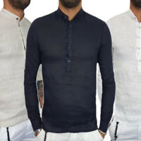 Mens Cotton & Linen Long Sleeve Mandarin Collar Casual Shirt Tops Fashion NEW