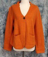 Eileen Fisher Womens sz M Orange Lambswool Long Sleeve 1 Button Fuzzy Sweater