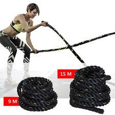 HOMCOM-Battle Rope Corda Fune da Allenamento Forza Fitness Lunghezza 9/15m Nero