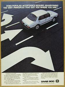 1985 Saab 900 Turbo white 4-door car photo vintage print Ad