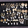 Gold Freshwater Pearl Earrings Geometric Irregular Flower Dangle Drop Jewelry UK