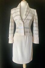 St John Evening Size 2 Ivory Pailette Embellished Skirt Suit