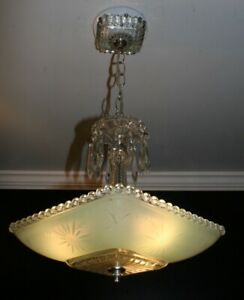 Antique square jadeite green Art Deco glass shade light fixture chandelier