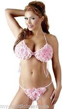Mm sujetador conjunto con volantes bikini sujetador y String rosa bra set talla única S-L
