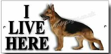 """ALSATIAN """"I LIVE HERE"""" METAL SIGN, AS SHOWN ON THE FRANK SKINNER ROOM 101 SHOW."""