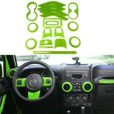 Full Set Interior Decoration Trim Kit Fit For Jeep Wrangler JK JKU (Green 18PCS)