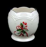 Vintage Lenox Ivory Christmas Votive Candle Holder w Candy Cane And Greens EUC